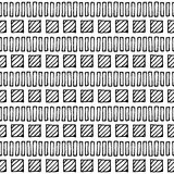 Seamless vector pattern. Black and white geometrical background with hand drawn little decorative elements, squares and lines.Print with ethnic, folk Royalty Free Stock Photography
