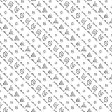 Seamless vector pattern. Black and white geometrical background with hand drawn triangles, squares, rhombus, lines, circles.  Stock Photo