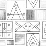 Seamless vector pattern. Black and white geometrical hand drawn background with etnic elements. Print for background, wallpaper, p. Ackaging, wrapping, fabric stock illustration