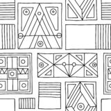 Seamless vector pattern. Black and white geometrical hand drawn background with etnic elements. Print for background, wallpaper, p. Ackaging, wrapping, fabric royalty free illustration