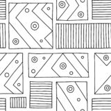 Seamless vector pattern. Black and white geometrical hand drawn background with rectangles, squares, lines, dots. Print for backgr. Ound, wallpaper, packaging stock illustration