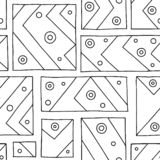 Seamless vector pattern. Black and white geometrical hand drawn background with rectangles, squares, lines, dots. Print for backgr. Ound, wallpaper, packaging royalty free illustration