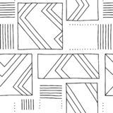 Seamless vector pattern. Black and white geometrical hand drawn background with rectangles, squares, lines. Print for background,. Wallpaper, packaging vector illustration
