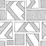 Seamless vector pattern. Black and white geometrical hand drawn background with rectangles, squares, lines. Print for background,. Wallpaper, packaging stock illustration