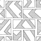 Seamless vector pattern. Black and white geometrical hand drawn background with rectangles, squares, lines. Print for background,. Wallpaper, packaging royalty free illustration