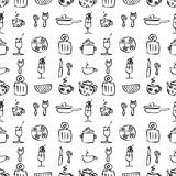 Seamless vector pattern. Black and white hand sketch drawn background with kitchenware. Stock Images