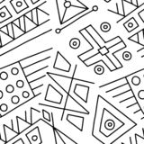Seamless vector pattern, black and white lined asymmetric geometric background with rhombus, triangles. Print for decor, wallpaper. Packaging, wrapping, fabric stock illustration