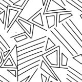 Seamless vector pattern, black and white lined asymmetric geometric background with rhombus, triangles. Print for decor, wallpaper. Packaging, wrapping, fabric vector illustration