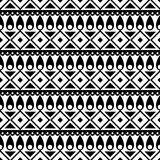 Seamless vector pattern. Black and white traditional etno background Stock Photos