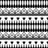Seamless vector pattern. Black and white traditional etno background Stock Photo