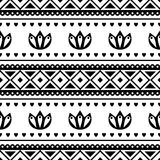 Seamless vector pattern. Black and white traditional etno background. Royalty Free Stock Photography
