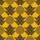 Seamless vector pattern. Black on yellow geometrical background with hand drawn decorative tribal elements. Print with ethnic, stock illustration