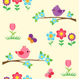 Seamless vector pattern with blooming branches Stock Image
