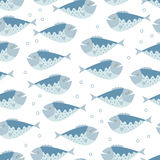 The seamless vector pattern with the blue fishes. The vector picture. EPS 8 Stock Image