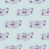 Seamless vector pattern, blue music symmetrical background with notes.  Stock Photo