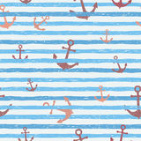 Seamless vector pattern - blue stripes with anchors. Stock Image