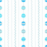 Seamless vector pattern. Blue vertical lines, circles and twigs on white background. Hand drawn abstract branch illustration Stock Image