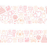 Seamless vector pattern borders of wedding icons. Stock Photography