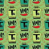 Seamless vector pattern with bottle of tequila and pepper on green background. Holla - hello in spanish . Stock Image