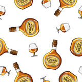 Seamless vector pattern of  bottles and glasses of brandy Royalty Free Stock Photography