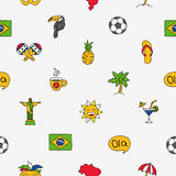 Seamless vector pattern of the Brazilian icons Stock Photos