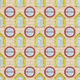 Seamless Vector Pattern with Brick Wall and Color Windows Stock Photography