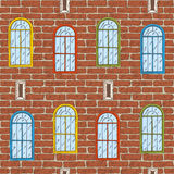 Seamless Vector Pattern with Brick Wall and Color Windows Royalty Free Stock Image