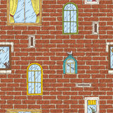Seamless Vector Pattern with Brick Wall and Color Windows Stock Images