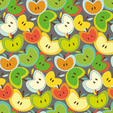 Seamless vector pattern with bright apples. Seamless pattern with cute apples on agree background Stock Photo