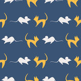 Seamless vector pattern, bright background with cats and mouses, colorful close-up silhouette over blue backdrop Stock Photo