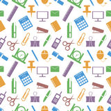Seamless vector pattern. Bright background with elements of colorful office supplies on the white backdrop Stock Photo