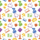 Seamless vector pattern. Bright chaotic background with colorful elements of home decor on the white backdrop Stock Images