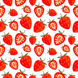 Seamless vector pattern,  bright chaotic background with strawberry Stock Photos