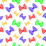 Seamless vector pattern, bright chaotic colorful background with bows, on the white backdrop Royalty Free Stock Photos