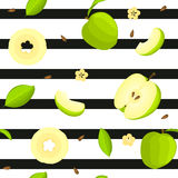 Seamless vector pattern of bright fruit. Striped background with delicious green apples, whole, slice, half, , leaves. Seamless vector pattern of bright fruit Vector Illustration