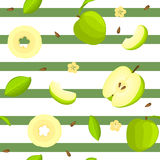 Seamless vector pattern of bright fruit. Striped background with delicious green apples. Whole, slice, half, slice, leaves. Illustration can be used for Royalty Free Illustration