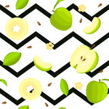 Seamless vector pattern of bright fruit. Striped zig-zag background with delicious green apples, whole, slice, half. Slice, leaves. Illustration for printing Royalty Free Illustration