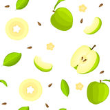 Seamless vector pattern of bright fruit. White background with delicious green apples, whole, slice, half, , leaves. Seamless vector pattern of bright fruit Stock Illustration