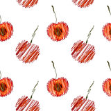 Seamless vector pattern,  bright fruits background with cherry, whole and half on the white backdrop Stock Photo