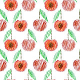 Seamless vector pattern,  bright fruits background with cherry, whole and half on the white backdrop Stock Images