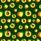 Seamless vector pattern, bright fruits chaotic background with apricots Stock Photos