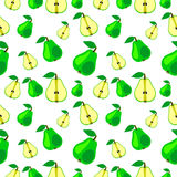 Seamless vector pattern, bright fruits chaotic background with pears Stock Image