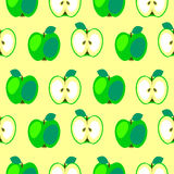 Seamless vector pattern,  bright  fruits symmetrical background with apples, whole and half Royalty Free Stock Images