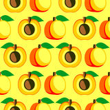 Seamless vector pattern,  bright  fruits symmetrical background with apricots, whole and half over light backdrop. Stock Images