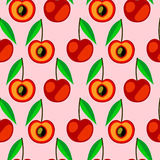 Seamless vector pattern,  bright fruits symmetrical background with cherry, whole and half over light backdrop. Royalty Free Stock Images