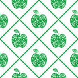 Seamless vector pattern,  bright  fruits symmetrical background with green decorative ornamental apples and rhombus, on the white Stock Photos