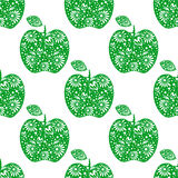 Seamless vector pattern,  bright  fruits symmetrical background with green decorative ornamental apples, on the white backdrop Stock Image