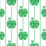 Seamless vector pattern,  bright  fruits symmetrical background with green decorative ornamental apples, on the white backdrop Stock Photography