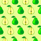 Seamless vector pattern, bright fruits symmetrical background with pears, whole and half over light backdrop. Stock Photo