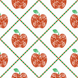 Seamless vector pattern,  bright  fruits symmetrical background with red decorative ornamental apples and rhombus, on the white ba Stock Photography